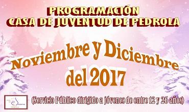 Programación de actividades en la Casa de Juventud durante noviembre y diciembre