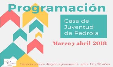 Programación de actividades de marzo y abril en la Casa de Juventud