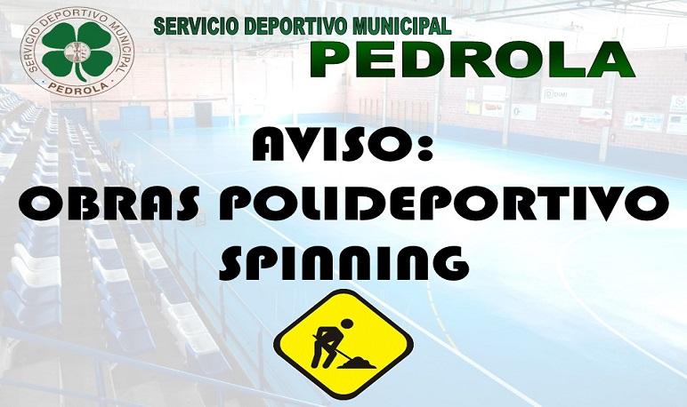 Interrupción de las clases de spinning con motivo de las obras del polideportivo.