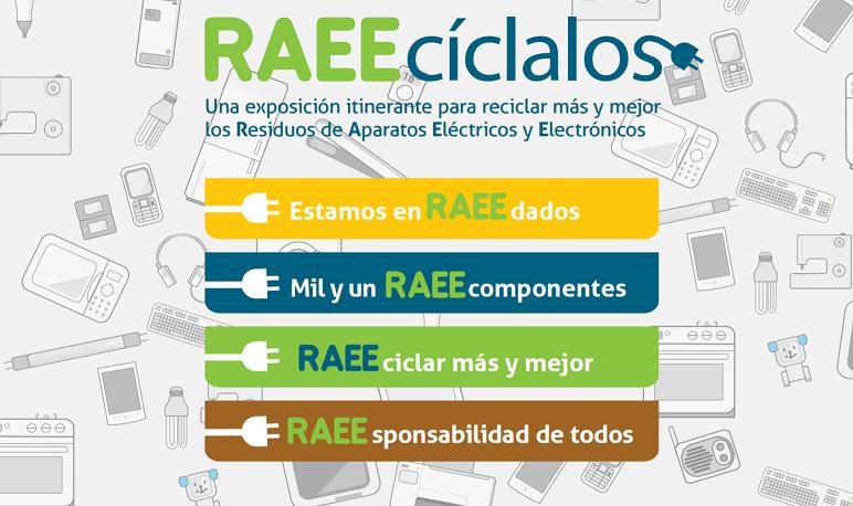 Exposición sobre reciclado de residuos de aparatos eléctricos y electrónicos (RAEE)