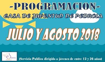 Programación de actividades de Julio y Agosto en la Casa de Juventud