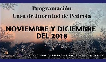 Programación de actividades en noviembre y diciembre en la Casa de Juventud