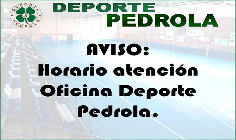 Horario atención Oficina Deporte Pedrola
