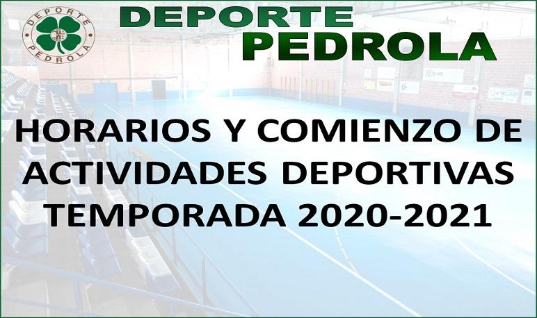 Horarios y comienzo de las Actividades Deportivas temporada 2020-2021