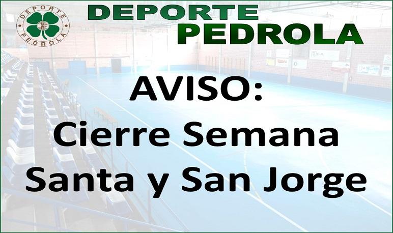 Cierre de instalaciones deportivas Semana Santa y San Jorge